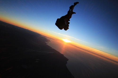Skydiver Sunset