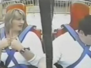 Fat Kid w Mom in Sling Shot Ride