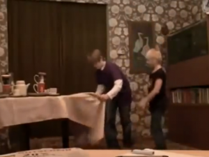 Kid Pulls Off Table Cloth Trick
